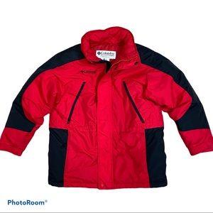Down Puffer Red Black Zip Button Winter Warm Coat